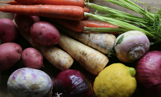 root vegetables, carrots, parsnips, turnips, rutabagas, onions, potatoes, lemons