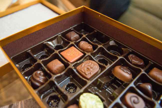 chocolates in box